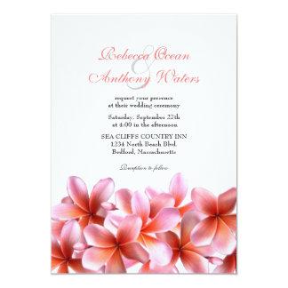 Pink Plumeria Tropical Beach Wedding 13 Cm X 18 Cm Invitation Card