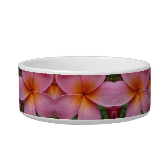 Pink Plumeria Tropical Flower Blossoms Pet Bowl