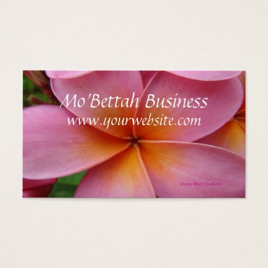 Pink Plumeria Tropical Flower Custom BusinessCards Business Card