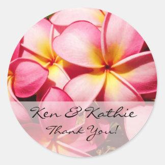 Pink Plumeria Wedding Thank You Sticker