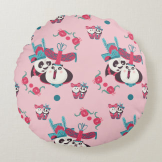 Pink Po and Mei Mei Pattern Round Cushion