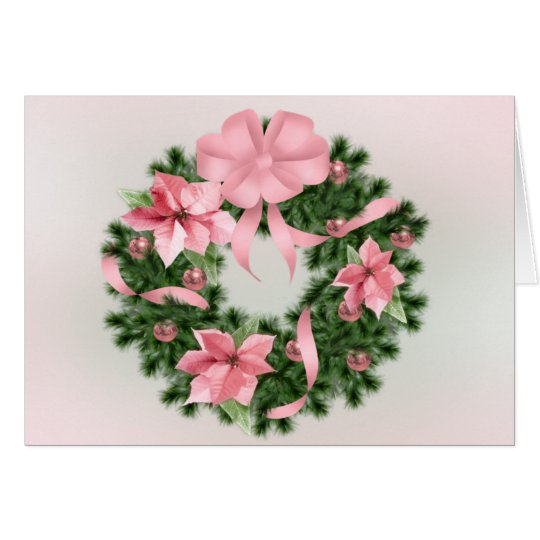 Pink Poinsetta Wreath Card