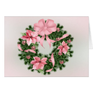 Pink Poinsetta Wreath Greeting Card