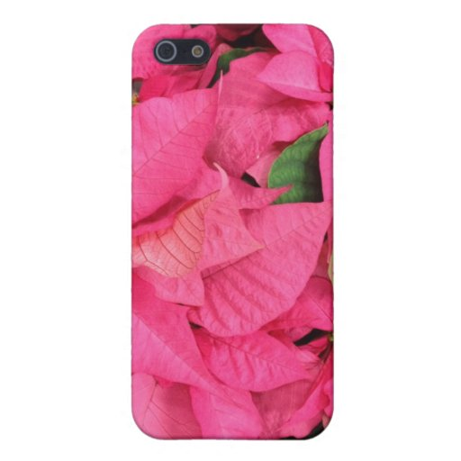 Pink Poinsettia Flowers Christmas Covers For iPhone 5
