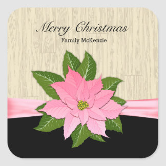Pink Poinsettia Square Sticker