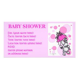 Pink Polk a Dot Poodle Baby Shower Card