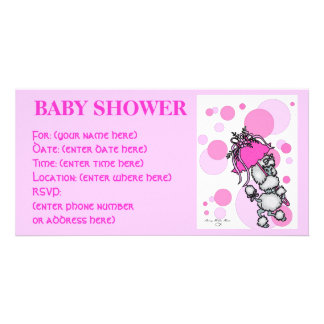 Pink Polk a Dot Poodle Baby Shower Personalized Photo Card