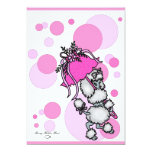 Pink Polk-a-dot Poodle 13 Cm X 18 Cm Invitation Card