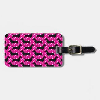 Pink Polka Dachshunds Luggage Tag