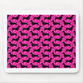 Pink Polka Dachshunds Mouse Mat