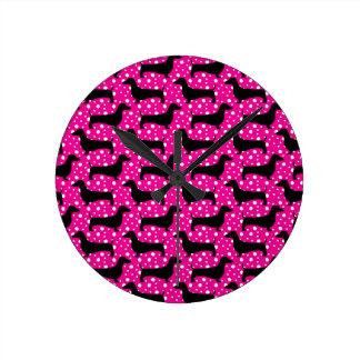 Pink Polka Dachshunds Round Clock