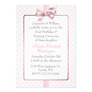 Pink Polka Dot Baby s Birthday and Naming Ceremony Personalized Invite