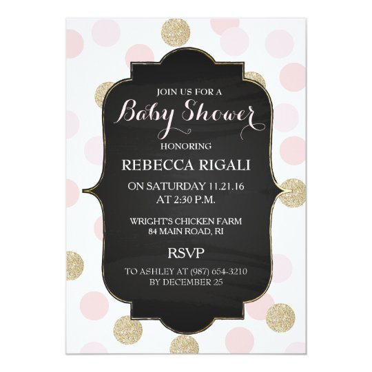 Pink Polka Dot Baby Shower Invitation ~ Girl