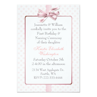 Pink Polka Dot Babyu0026#39;s Birthday And Naming Ceremony Card