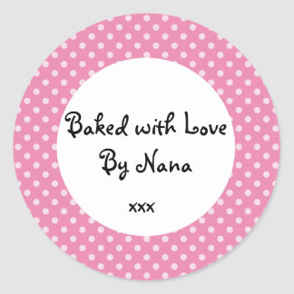 Pink Polka dot 'baked by nana' sticker