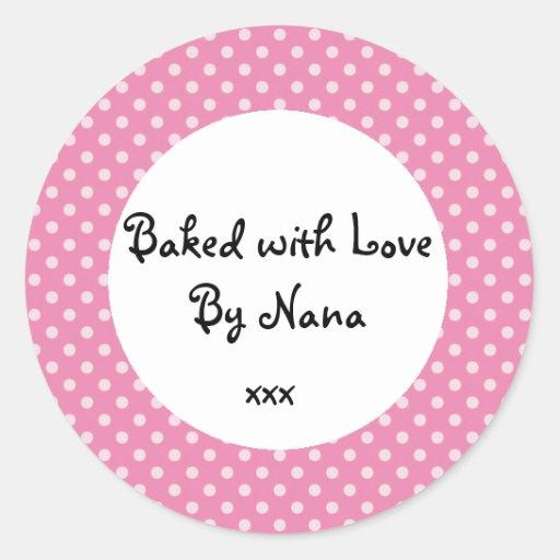 Pink Polka dot 'baked by nana' sticker