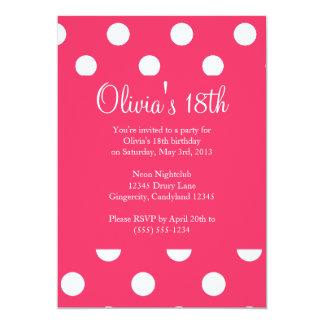 Pink Polka Dot Birthday Invitation