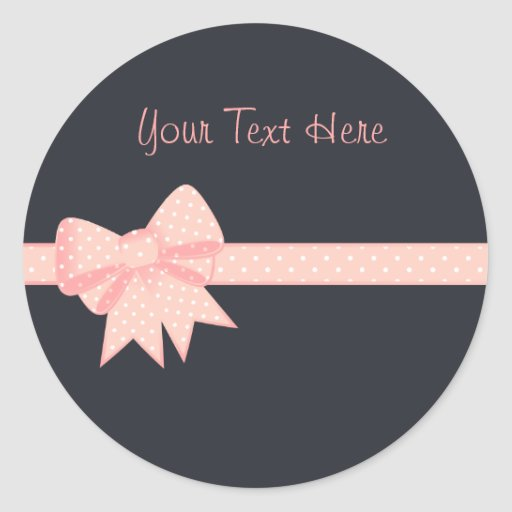 Pink Polka Dot Bow Sitckers Sticker