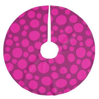 Pink polka dot brushed polyester tree skirt