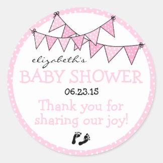 Pink Polka Dot Bunting Baby Shower Thank You Round Sticker