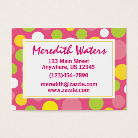 Pink Polka Dot Business Calling Card