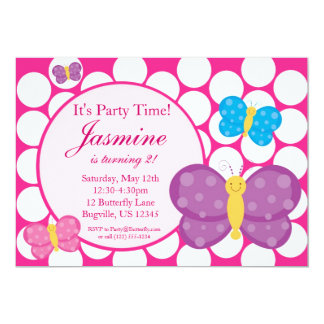 Pink Polka Dot Butterfly Birthday Party Invitation