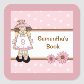 Pink Polka Dot Child's Personalized Bookplate Square Sticker