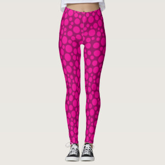 Pink polka dot circles print leggings