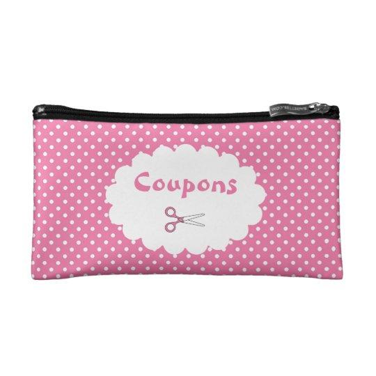 Pink Polka Dot Coupon Organiser Makeup Bag