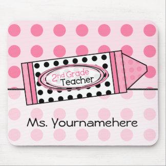 Pink Polka Dot Crayon 2nd Grade Teacher Mousepad