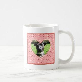 Pink Polka Dot Crosshatch Heart Photo Frame Basic White Mug