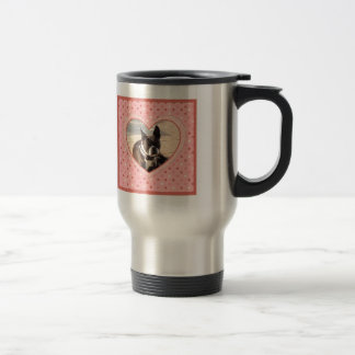 Pink Polka Dot Crosshatch Heart Photo Frame Stainless Steel Travel Mug