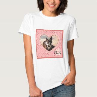 Pink Polka Dot Crosshatch Heart Photo Frame T Shirts