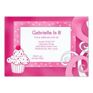 Pink, Polka Dot, Cupcake Birthday Party Invitation