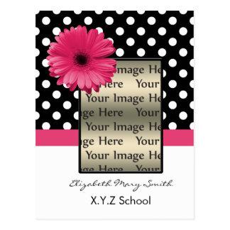 pink polka dot daisy photo Graduation Invitation Postcard