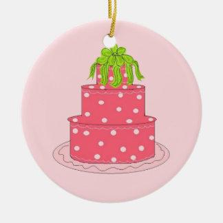 Pink Polka Dot Designer Cake Christmas Ornament