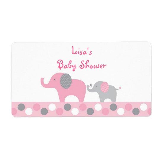 Pink Polka Dot Elephant Baby Shower Favour
