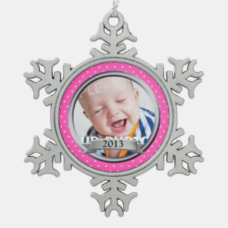 Pink Polka Dot Family Photo Snowflake Pewter Christmas Ornament