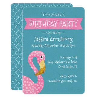 Pink Polka Dot Flamingo Birthday Card