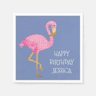 Pink Polka Dot Flamingo Birthday Disposable Serviette
