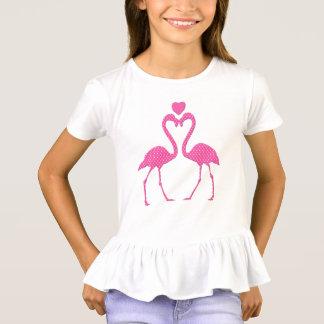 Pink Polka Dot Flamingo Valentine's Day Kid Shirt