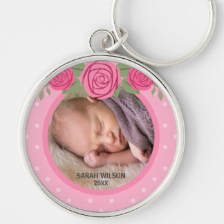 Pink Polka Dot Floral Baby Photo Key Ring