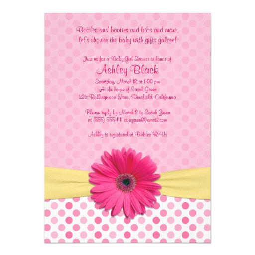 Pink Polka Dot Gerber Daisy Baby Shower Invitation