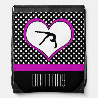 Pink Polka-Dot Gymnastics with heart Backpack