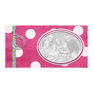 Pink Polka dot Holiday Photo Template Custom Photo Card