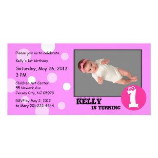 Pink Polka Dot Kids Birthday Photo Card