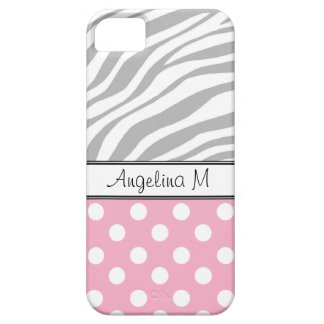 Pink Polka Dot Light Zebra Print iPhone 5 Case