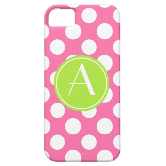 Pink Polka Dot Lime Circle Monogram iPhone 5 Case