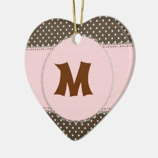 Pink Polka Dot Manogram Christmas Ornament