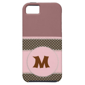 Pink Polka Dot Manogram iPhone 5 Cover